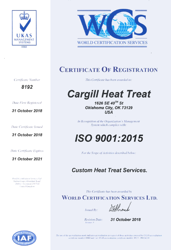 Carghill Heat Treat ISO 9001 certification
